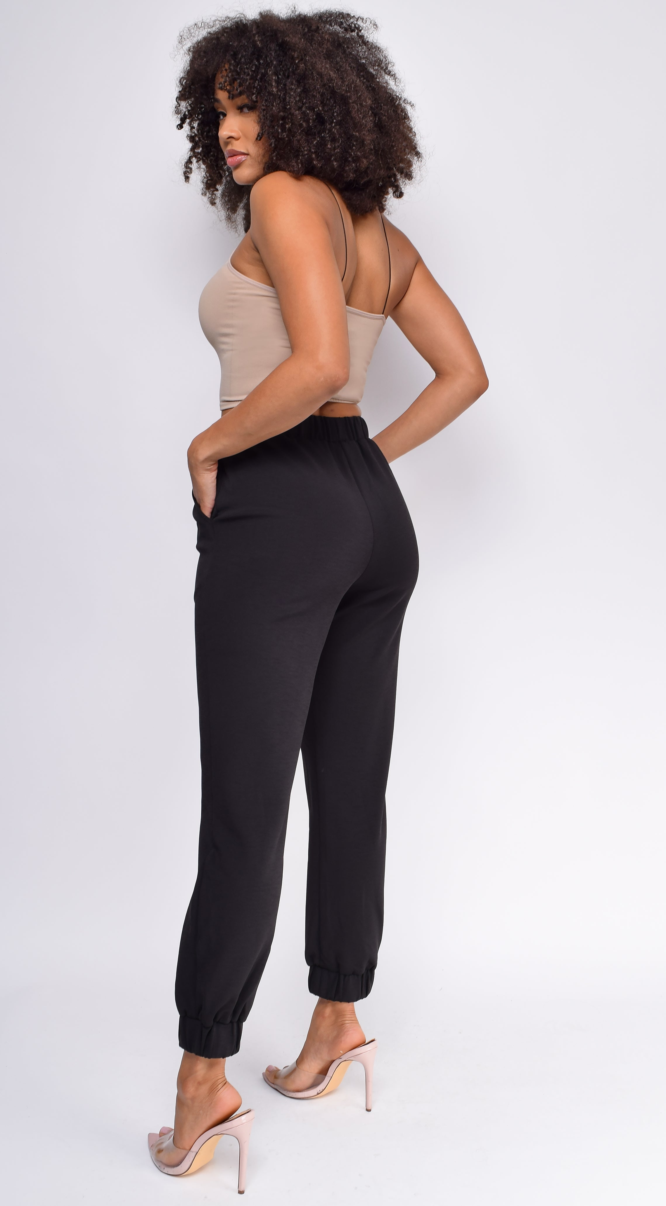 Let's Take A Run Black High Waist Joggers