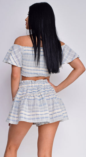 Peru Blue White Off Shoulder Top & Shorts Set