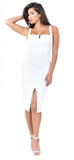 Carla White Front Slit Dress - Emprada