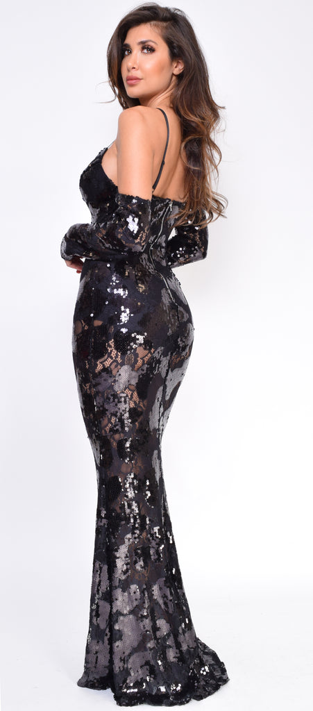 Galina Black Sequin Gown