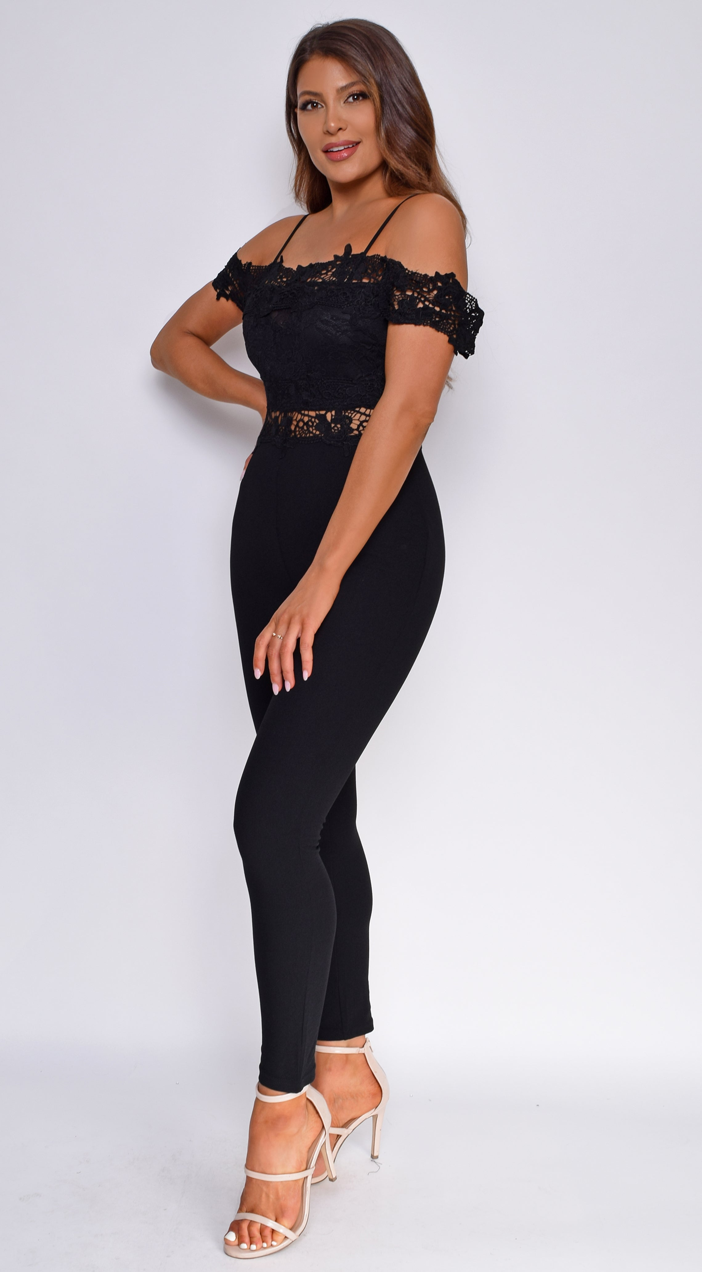 Drema Black Crochet Lace Off Shoulder Jumpsuit