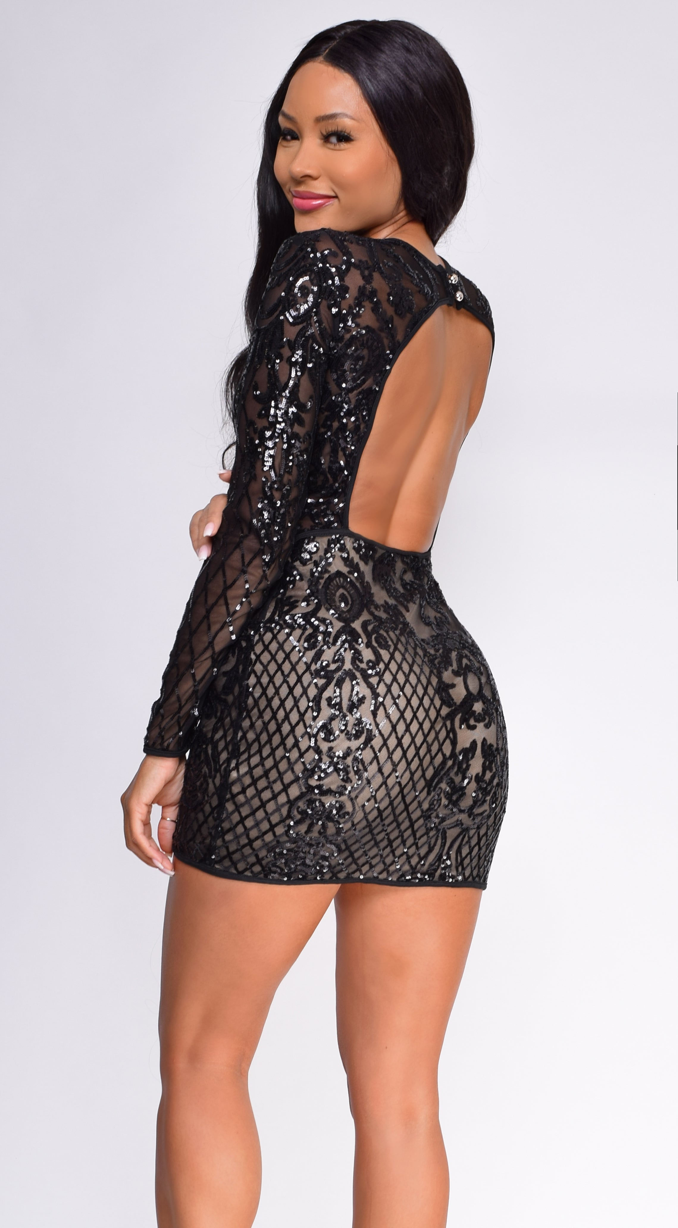 Lizzie Black Nude Sequin Long Sleeve Dress