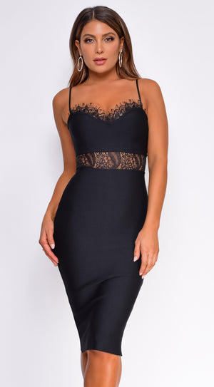 Brigitta Black Bandage Lace Midi Dress