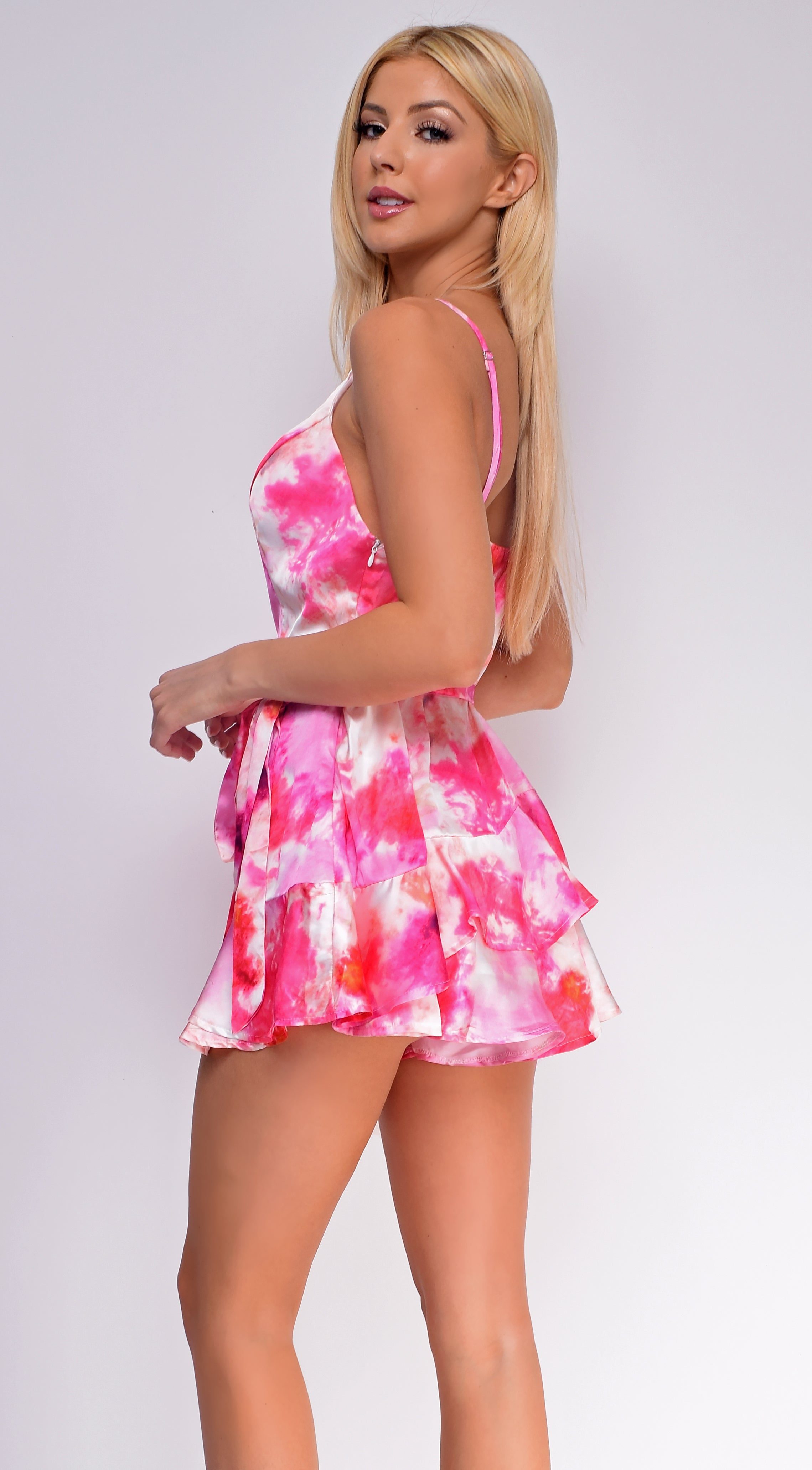 Cairo Pink Multi Tie Dye Satin Layer Romper