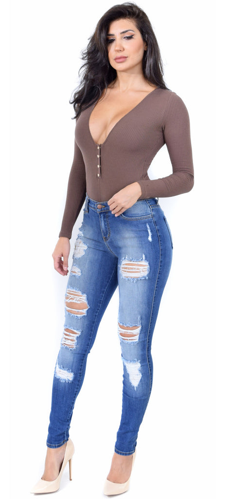 Cocoa Snap Button Deep V Bodysuit - Emprada