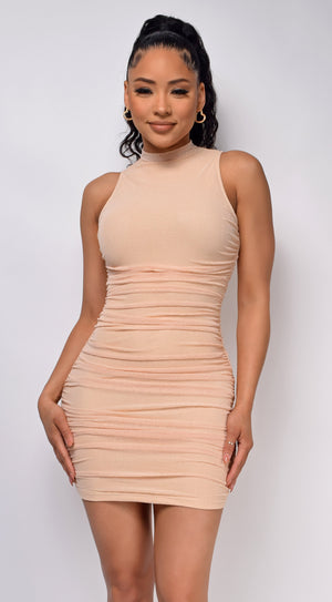 Girls Night Nude High Neck Ruched Dress