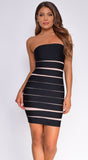 Jude Black Tube Beige Stripe Bandage Dress