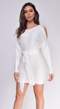 Laurel Ivory White Cold Shoulder Front Tie Dress