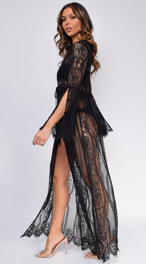 Samaria Black Lace Bell Sleeve Cover Up