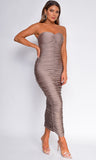 Cianna Mocha Brown Ruched Tube Maxi Dress