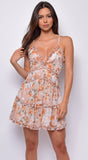 Aizah Nude Beige Floral Ruffled Dress
