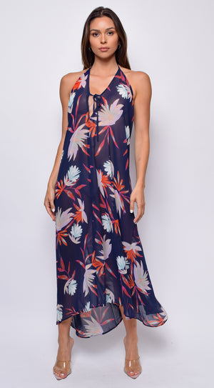 Bayside Navy Coral Multi Color Print Halter Cover Up