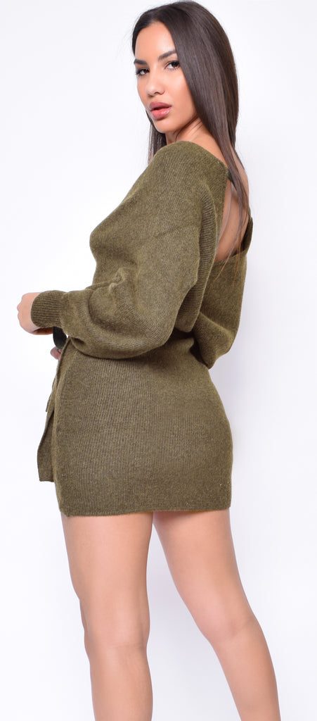 Ginette Olive Green Long Sleeve Wrap Sweater Dress
