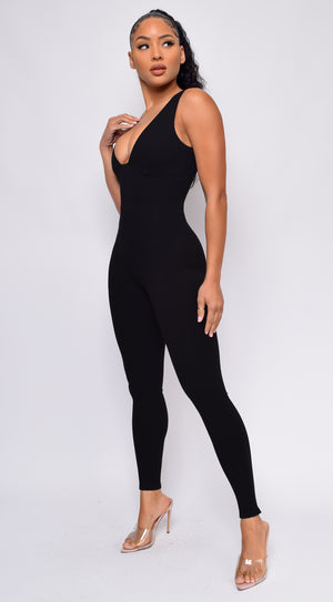 Aisley Black Ribbed Jumpsuit