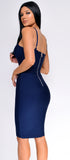 Nelinha Navy Blue Gold Button Bandage Dress