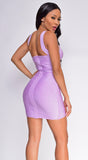Durene Lavender Purple Sparkling Bandage Dress