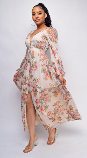 Catarine Nude Floral Maxi Dress
