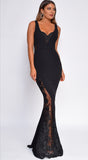 Rome Black Scalloped Embroidered Lace Gown