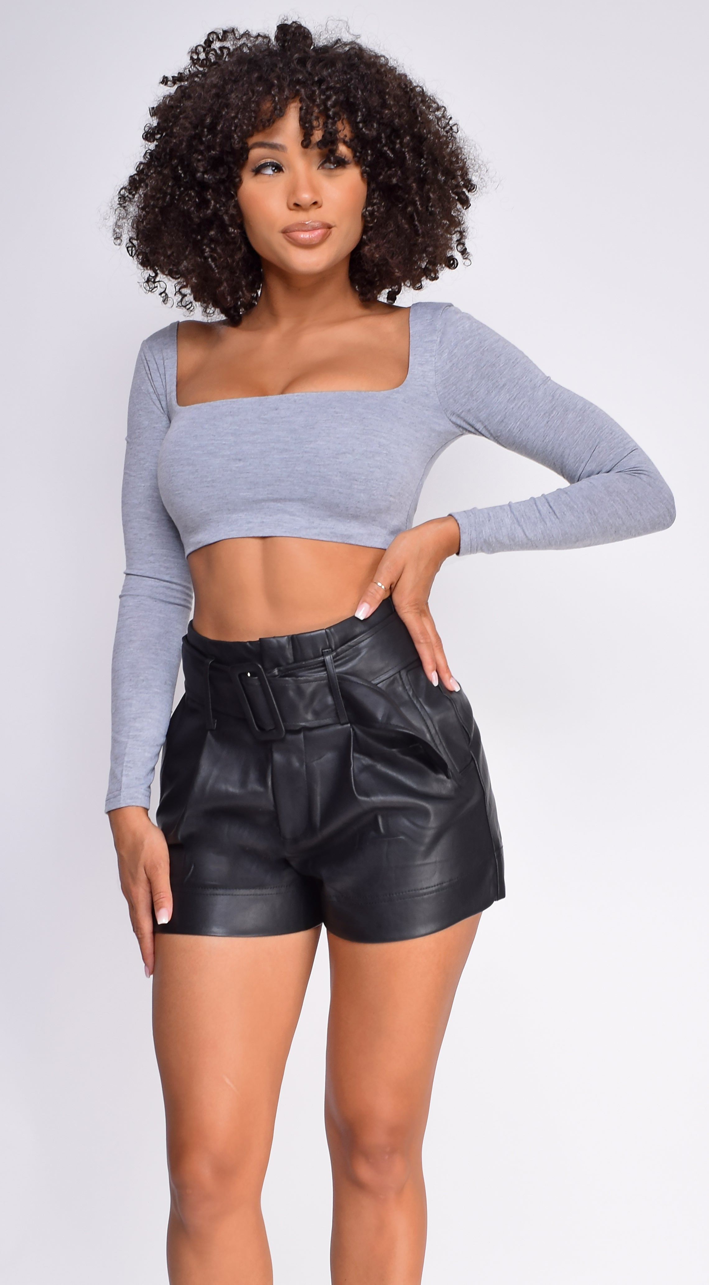 Rory Heather Grey Square Neckline Long Sleeve Crop Top