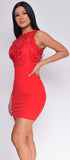 Ashanti Red Floral Trim High Neck Dress - Emprada