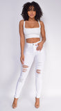Sima White Distressed Denim Jeans