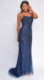 Elisetta Navy Blue Open Back Beaded Lace Gown