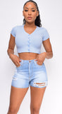 Stormi Blue Ribbed Button Front Crop Top