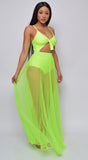 Palmaria Neon Lime Pleated Sheer Tulle Maxi Cover-up Skirt