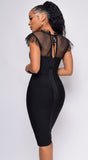Standards High Black Mesh Front Tie Bandage Dress