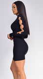 Tamara Black Open Long Sleeve Ribbed Dress