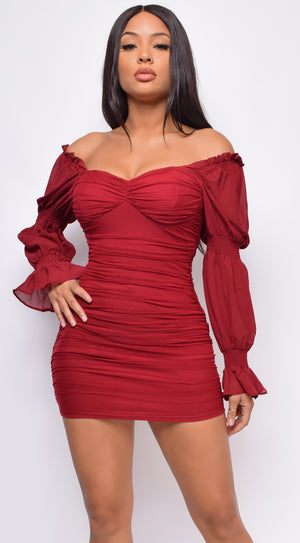 Bia Wine Red Off Shoulder Ruched Dress