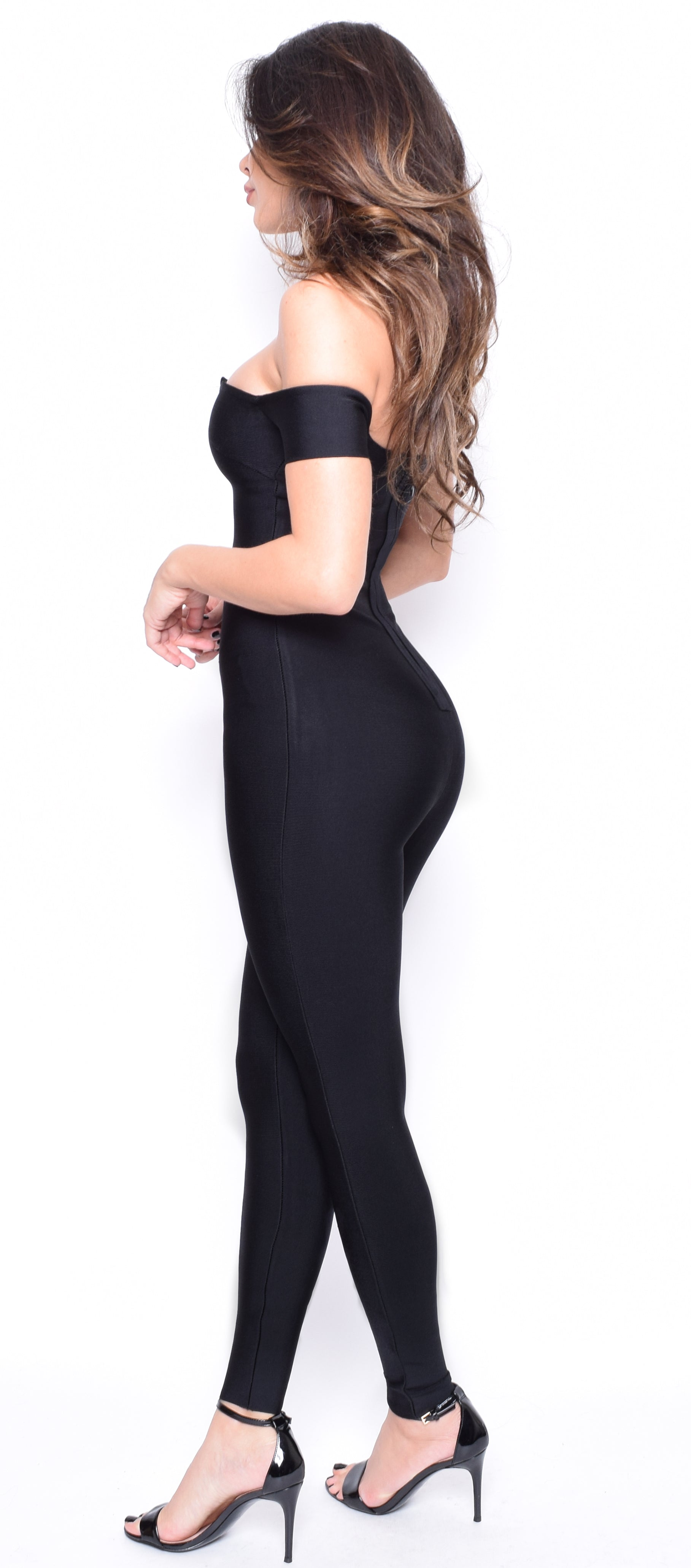 Izara Black Off Shoulder Bandage Jumpsuit