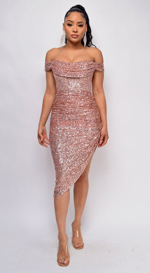 Mairaly Rose Gold Sequin Dress