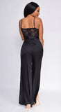Raya Black Lace Top Satin Wide Leg Slit Jumpsuit