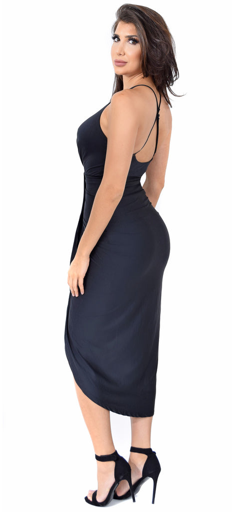 fa422ba890 Jeanina Black Deep V Drape Dress - Emprada