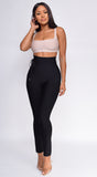Hara Black High Waist Belted Bandage Pants