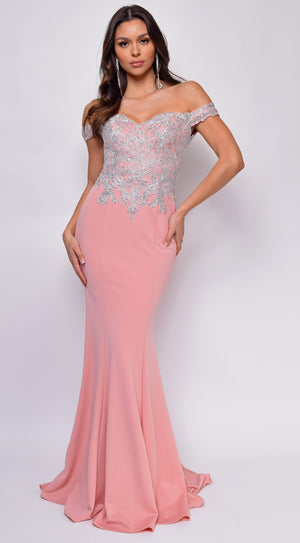 Ensley Pink Off Shoulder Silver Lace Detail Gown