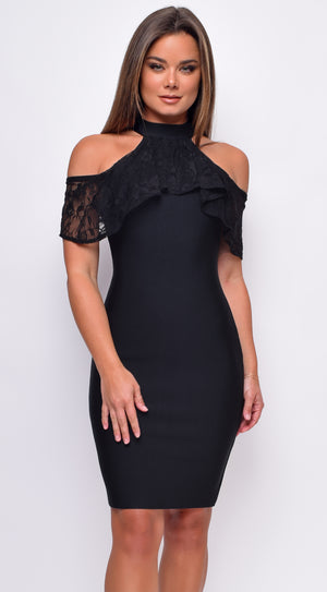 Evenia Black Mock Neck Lace Ruffle Open Shoulder Bandage Midi Dress