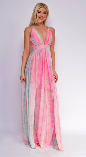 Somerset Green Multi Pastel Striped Maxi Dress