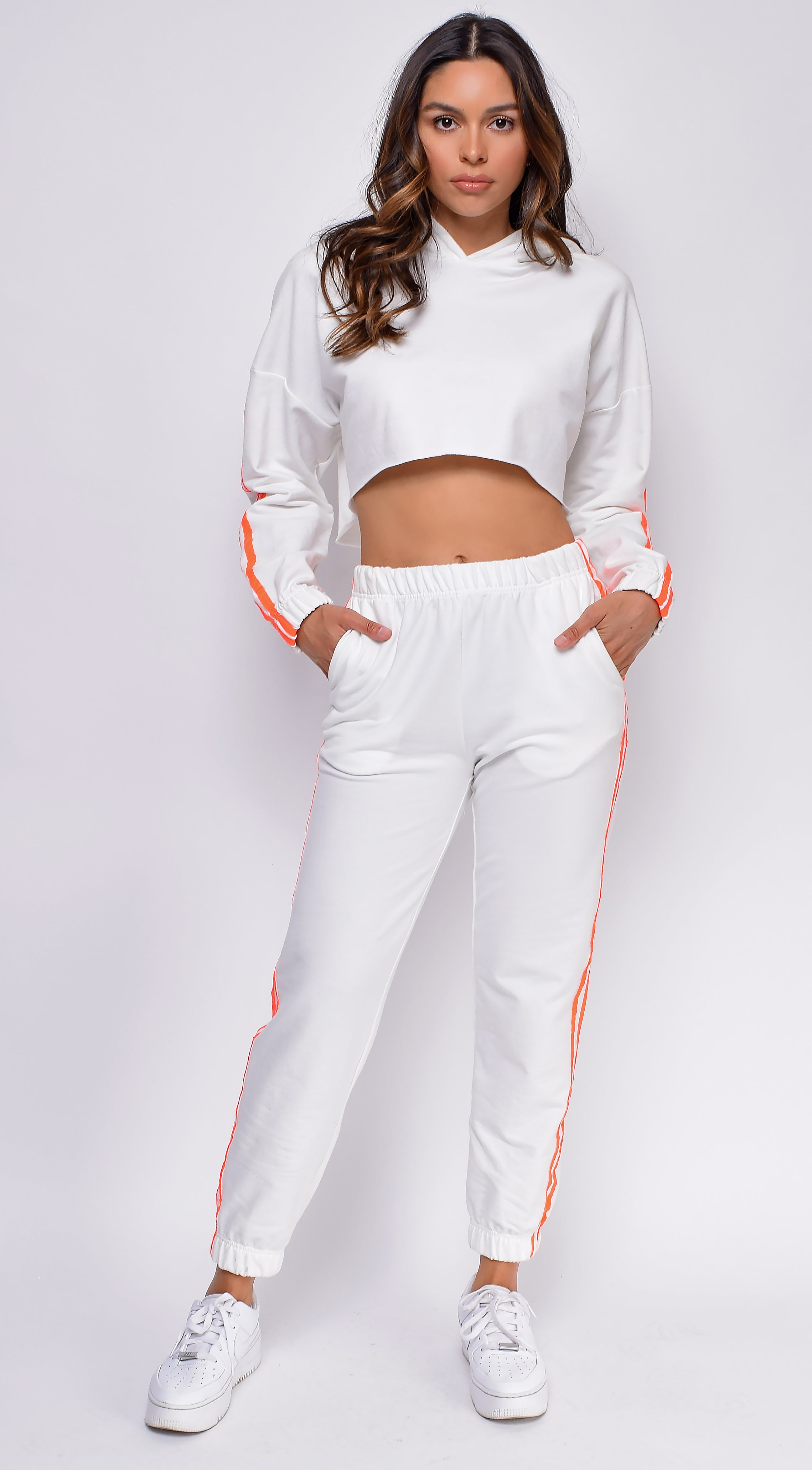 Over Your Head Neon Orange Cropped Hoodie and Joggers Set