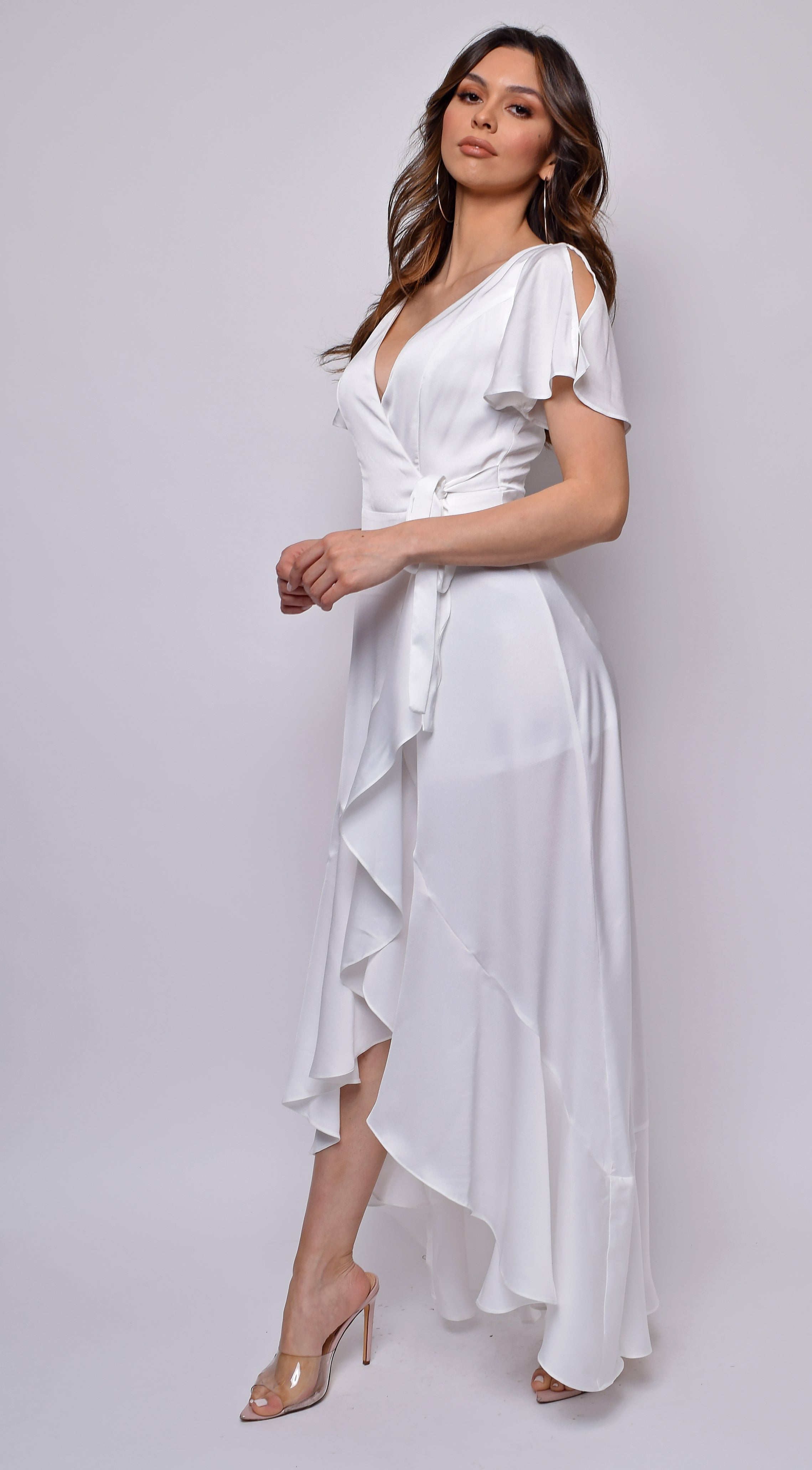 Loretta White Short Sleeves Maxi Dress