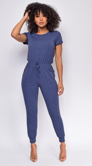 All Day Long Navy Blue Short Sleeve Drawstring Jogger Jumpsuit
