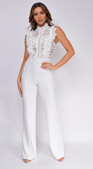 Vanna White Crotchet Flared leg Jumpsuit