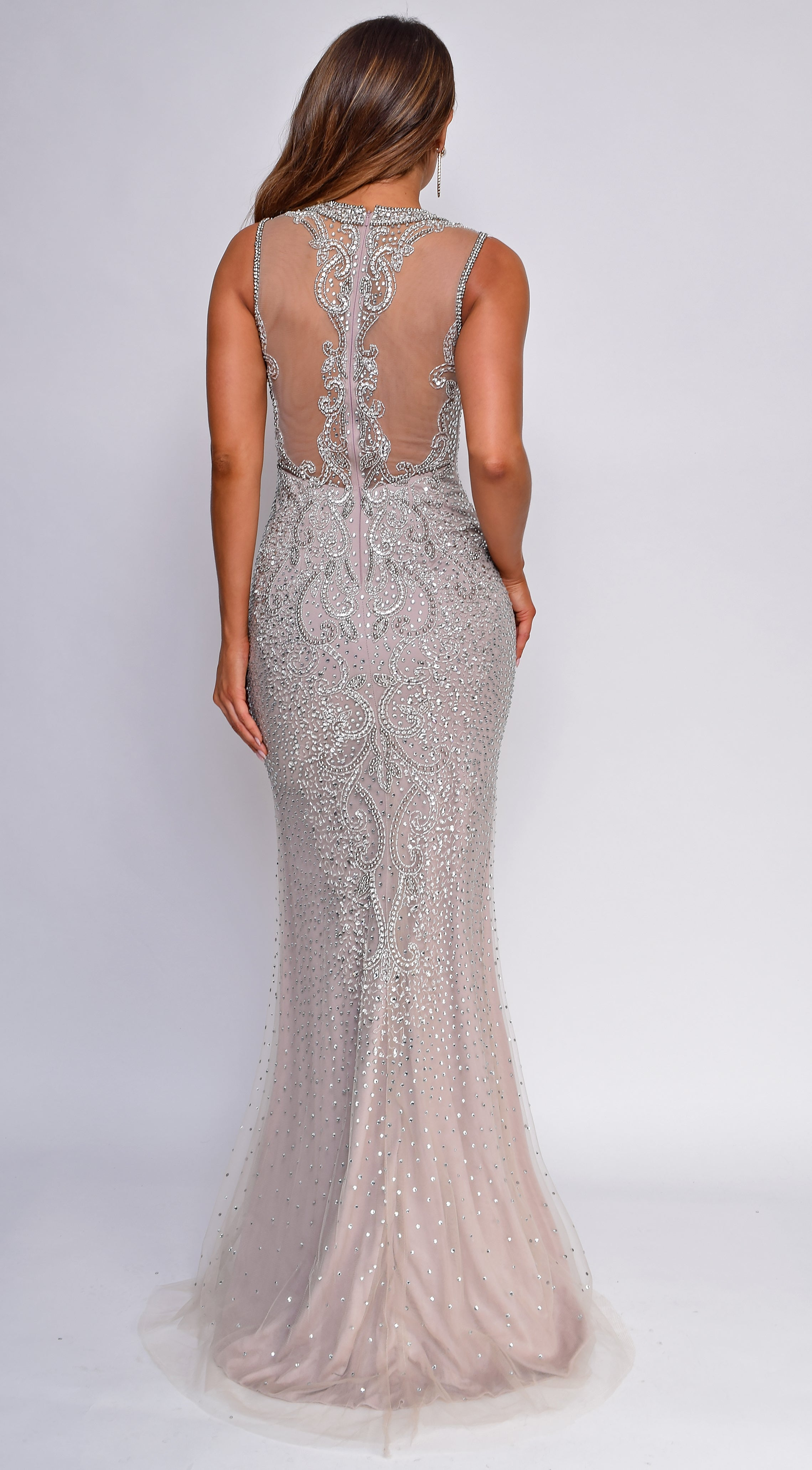 Lavette Mauve Pink Beaded Gown
