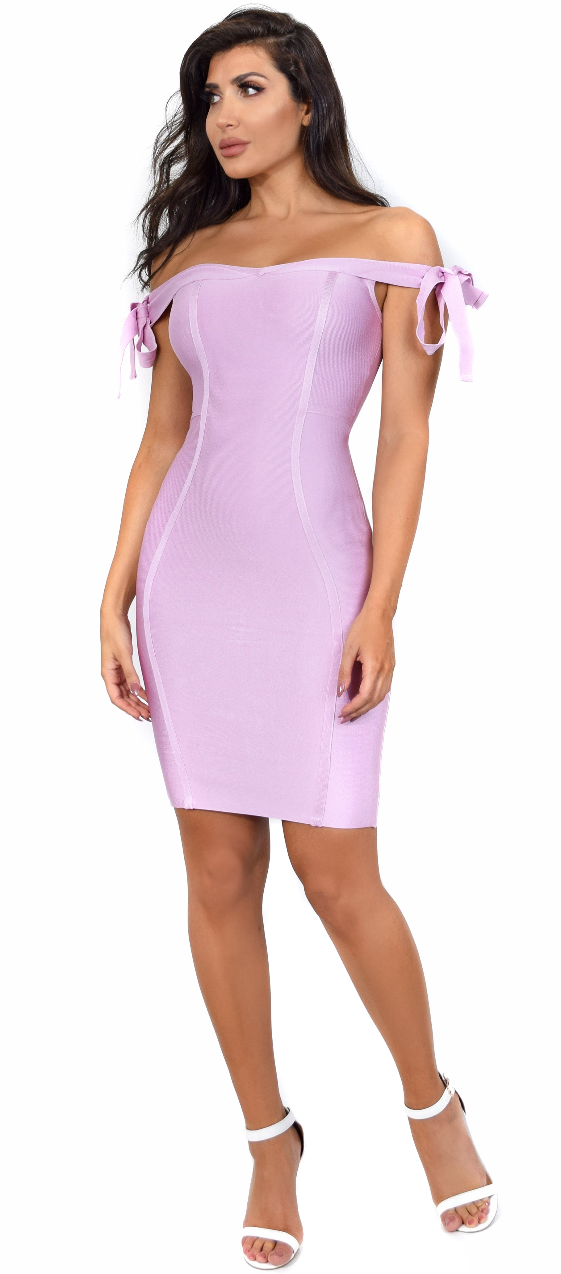 Estelle Pink Off Shoulder Arm Ties Bandage Dress - Emprada