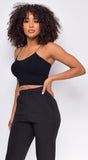 Joie Black Seamless Spaghetti Strap Ribbed Bottom Brami