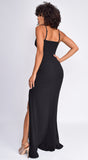 Sorrel Black Lace Detail Slit Gown