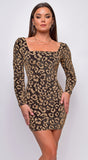 Ellery Gold Metallic Leopard Print Back Lace Up Mini Dress