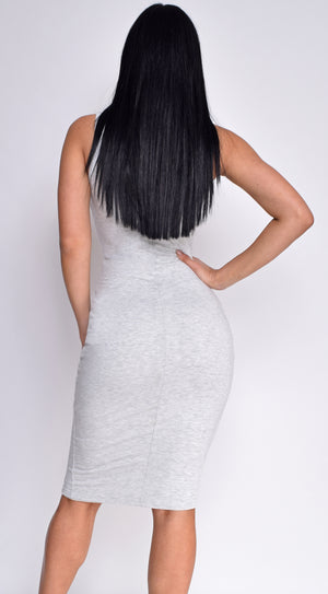 Grey Jersey Round Neck Midi Dress