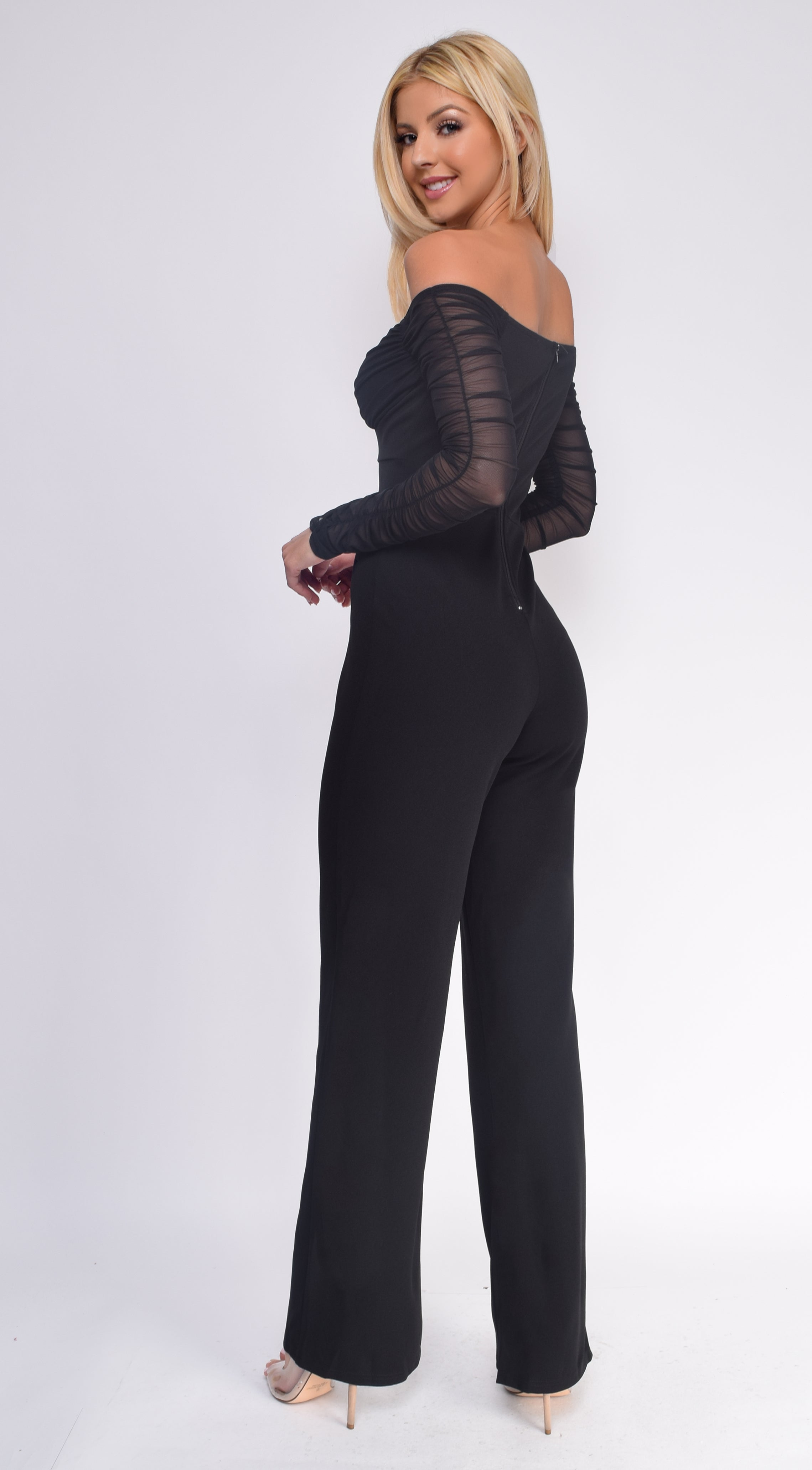 Windsor Black Off Shoulder Mesh Ruched Sleeves Jumpsuit